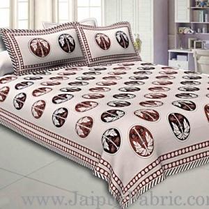 Double Bedsheet Grey  Border  Fine Cotton  Dark Tree Print