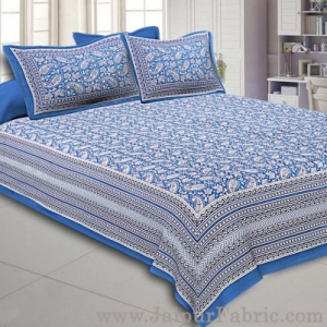 Paisley Double Bedsheet Blue border in super fine cotton with 2 Pillow Covers
