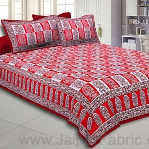 Double Bedsheet Crimson Red Fine Cotton Checkerd Design