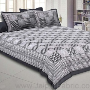Double Bedsheet Gray Checkered Pattern