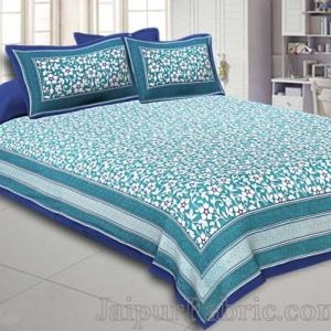 Double Bedsheet Sea Green Elegent Seamless Floral Pattern
