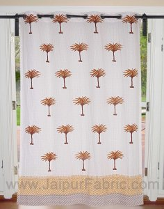 Wood Mustard Palm Polka Cotton Grommet Curtain