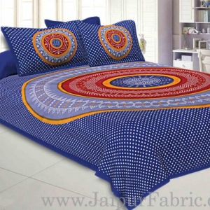 Double Bedsheet Blue With Round Shape Bandhej Print