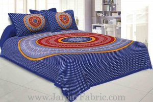 Wholesale Double Bedsheet Blue With Round Shape Bandhej Print