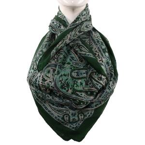 Silk Scarf Dark Green Paisley Print