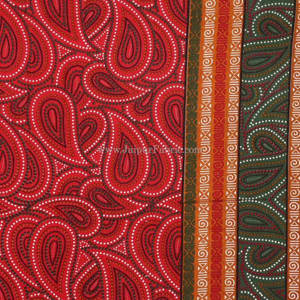 Maroon Border Black Lining  Maroon Base Paisley Dotted Print Cotton Double Bed Sheet