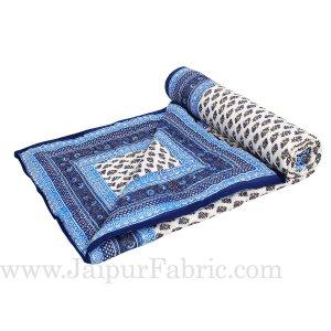 Blue Border Cream Base Golden Floral Print Super Fine Cotton Voile(Mulmul) Both Side Single  Bed Quilt