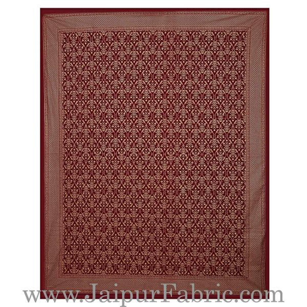 Double Bed Sheet  With Shining Gold Print Maroon Base Gold Retro Pattern Super Fine Cotton  Double Bed Sheet