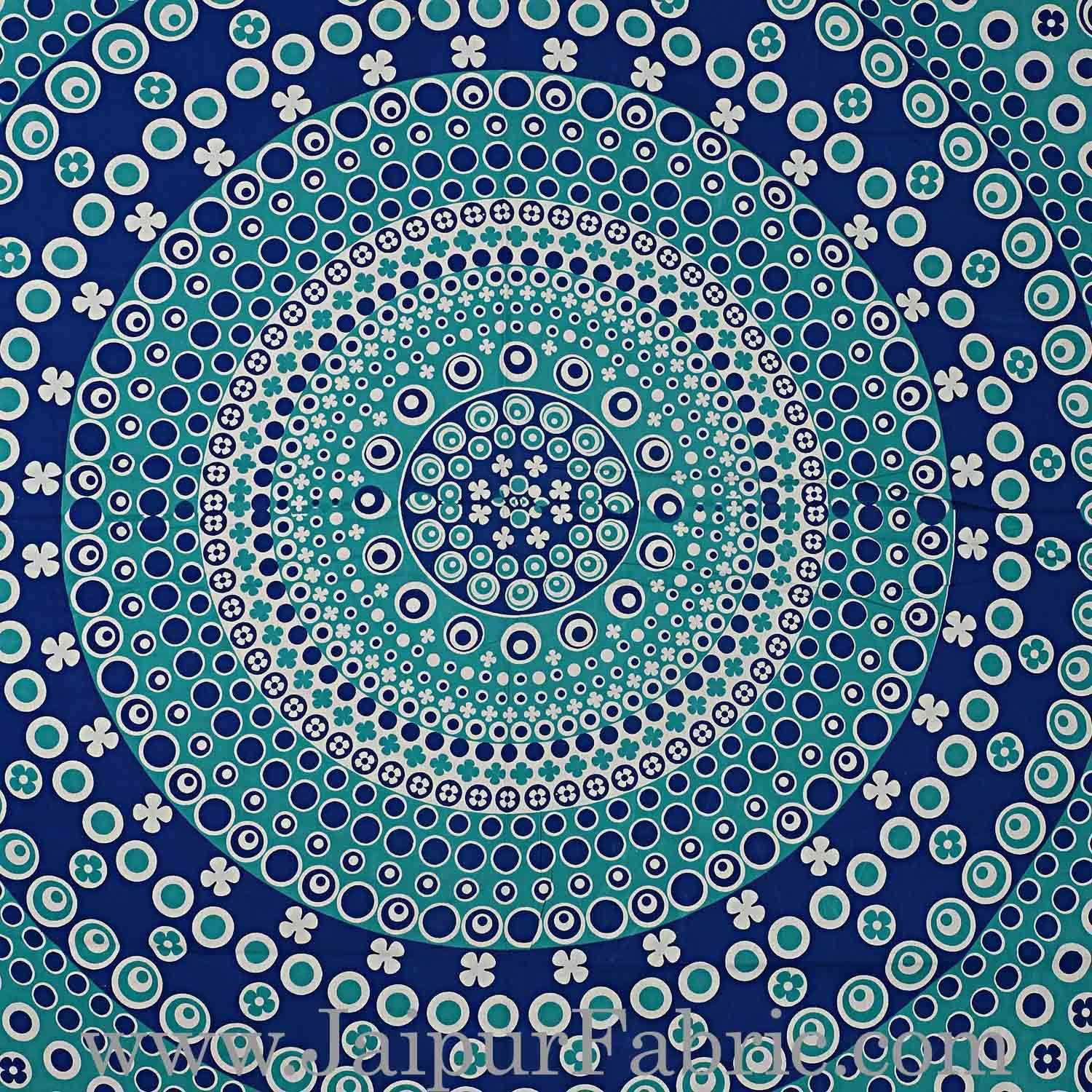 982f0d65c95 Double bedsheet Blue Color Rangoli Pattern Smooth Touch With 2 Pillow Cover