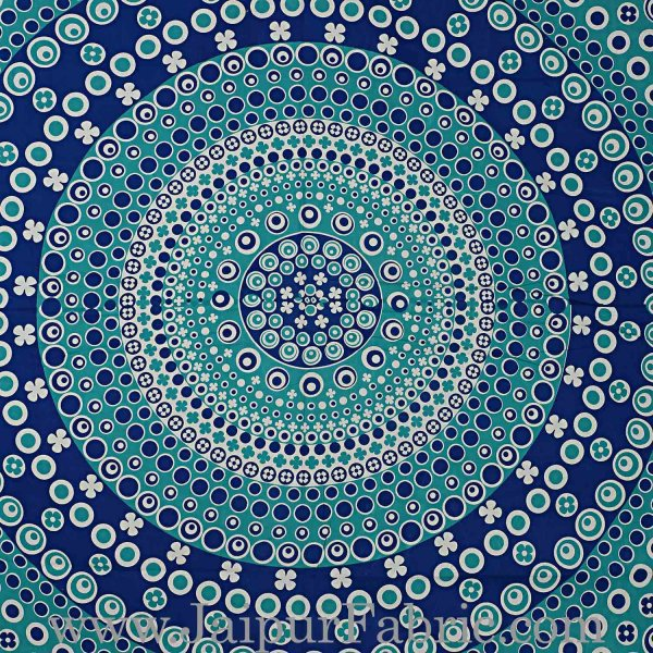 Double bedsheet Blue Color  Rangoli Pattern Smooth Touch With 2 Pillow Cover