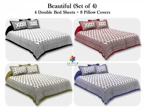 COMBO106 Beautiful Multicolor 4 Bedsheet + 8 Pillow Cover
