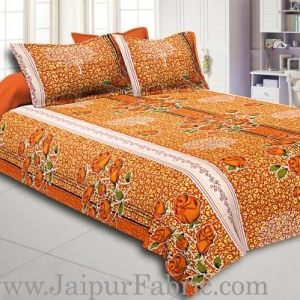 Brown Base Flower Print White Border Double Bed Sheet