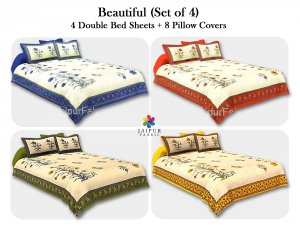 COMBO107 Beautiful Multicolor 4 Bedsheet + 8 Pillow Cover