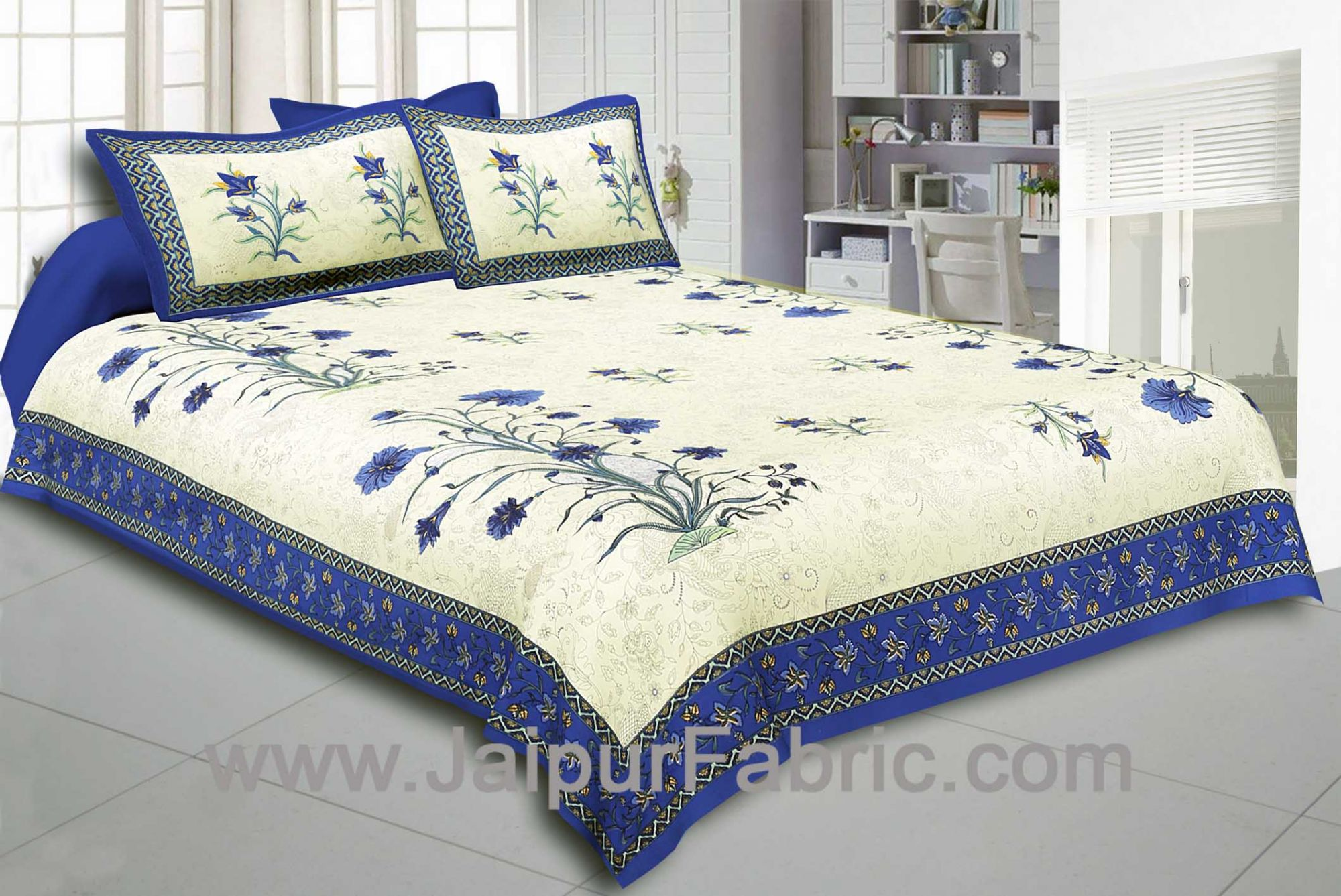 Blue Border Cream Base  Bud And Tree  Print Cotton Double  Bed Sheet