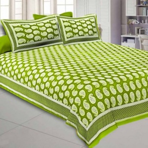 Paisley Double Bedsheet Olive Green Color Fine Cotton With Two Pillow covers