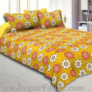 Green Base Dotted Flower Print Double Bed Sheet