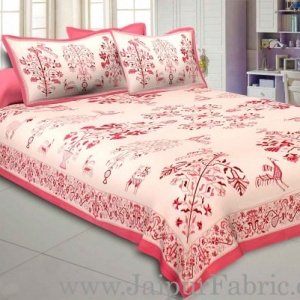Peach Drawing Double Bedsheet