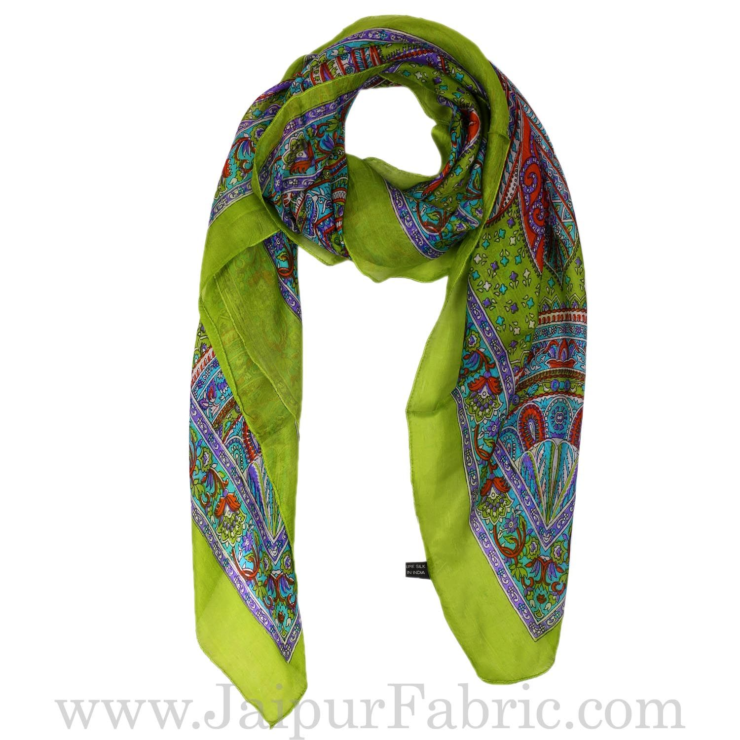 Silk Scarf Green Paisley Design