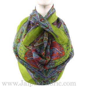 Silk Scarf Green Paisley Design