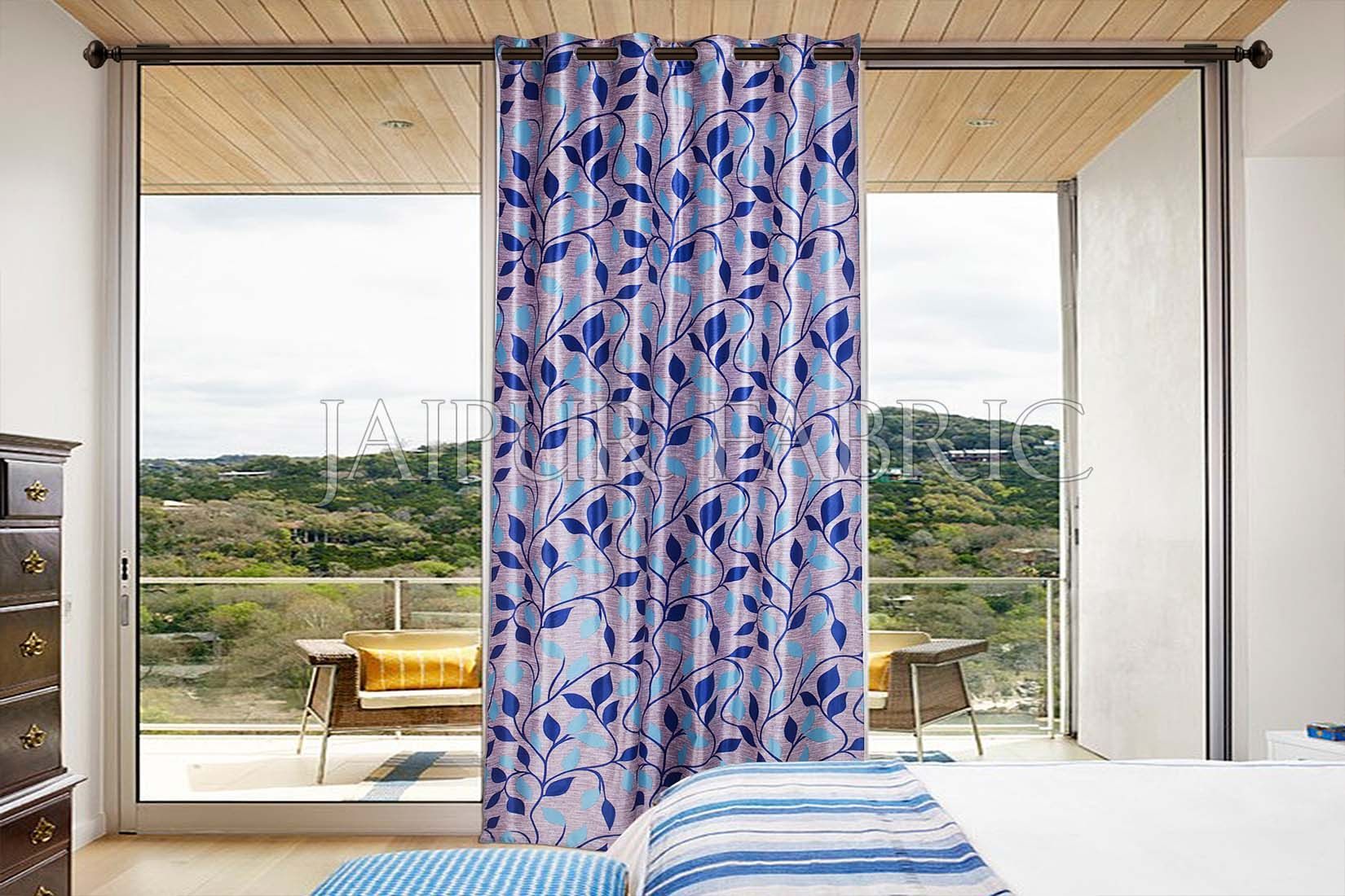 Violate Base Blue Color Printed Polyester Curtain