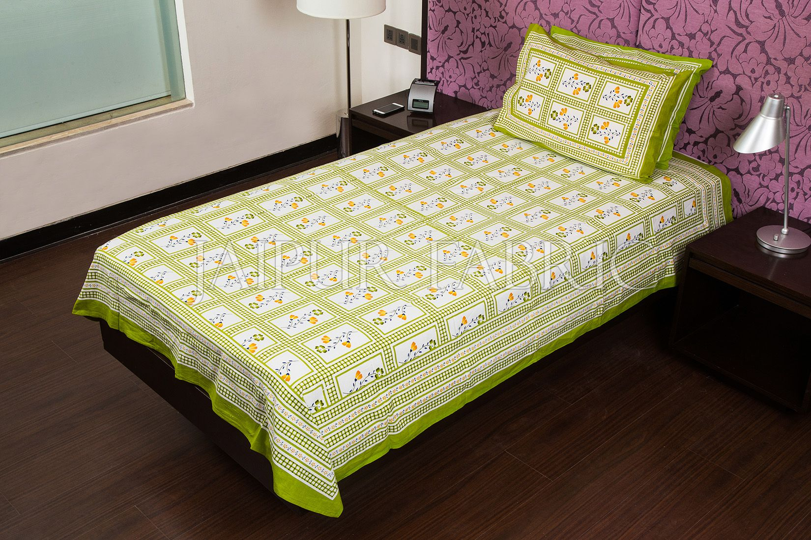 Green Color White Base Floral Print  Single Bed Sheet