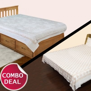 COMBO11 - Set of Double Bed Sheet and Single Bed Sheet