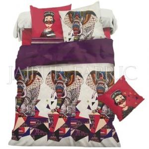Cream Base Pink Border Multi Color Elephant Print Single Bed Sheet