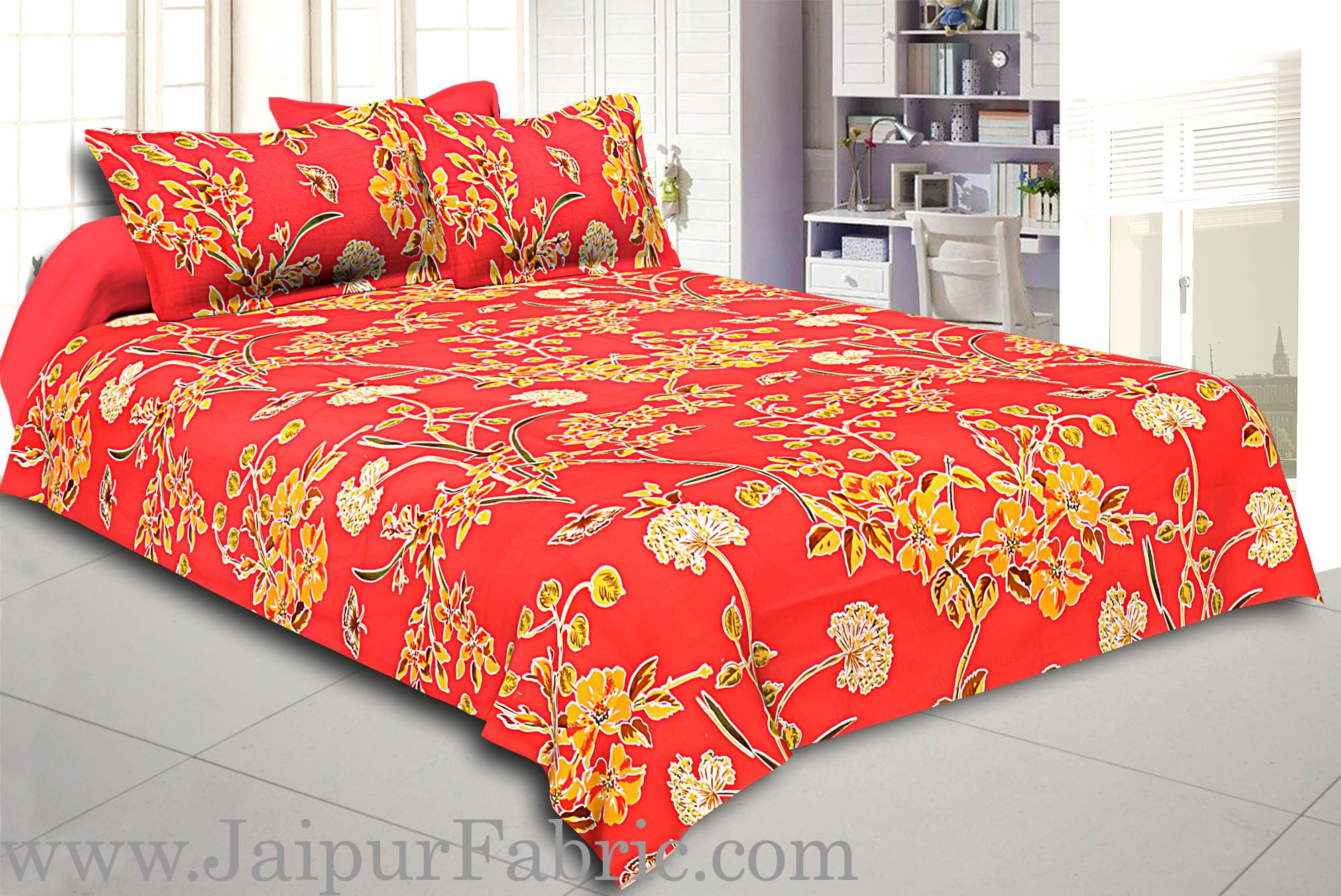 Peach Base Tropical Butterfly Design Double Bed Sheet