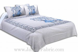 Twill Cotton Double Bedsheet Sky Blue Fir Tree Pattern