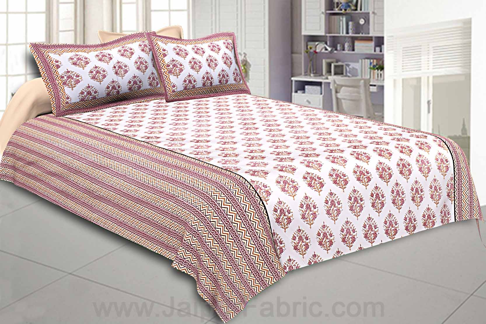 Double Bedsheet Dark Pink Bouquet Design