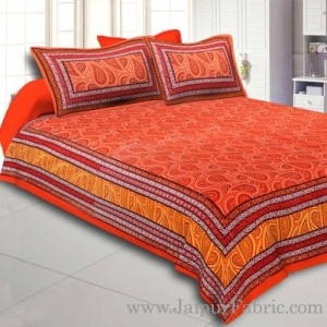 Orange Border Black Border Maroon Base Paisley Dotted Print Cotton Double Bed Sheet
