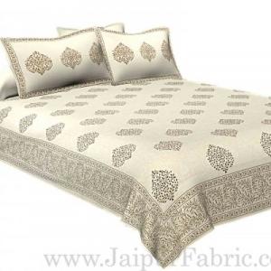 Double bedsheet Small  Brown Tree kadi Print Smooth  Cotton Screen Print