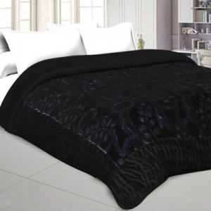 Jaipuri Hand Crafted Black Feather  Print Velvet Double Quilt/Rajai