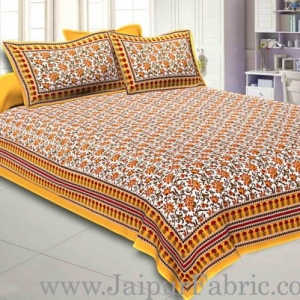 Double Bedsheet Yellow Border Bell Print With Two Pillow Cover