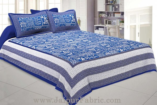 Double Bedsheet Blue Border With Check Print Blue Base