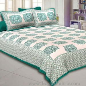Green Border With big Boota Super fine cotton Double bedsheet