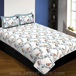Pure Cotton 240 TC Single Bedsheet indian bird print blue taxable
