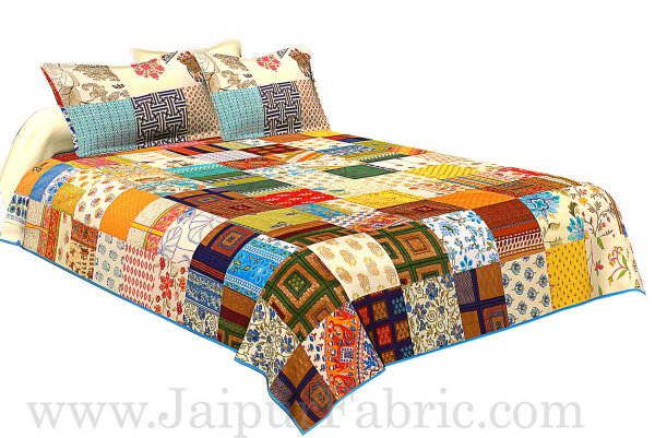 Mix Tukdi Super Fine Cotton Golden Print Double Bedsheet2
