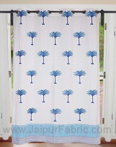 Sky Blue Palm Polka Cotton Grommet Curtain