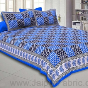 Double Bedsheet Royal Blue Fine Cotton Checkerd Design