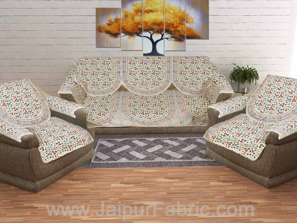 Satrangi Golden Red Sofa Set Cover
