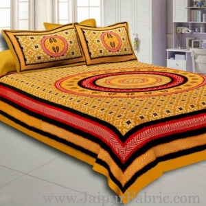 Brown Border Bandhej and Rangoli Print Cotton Double Bed Sheet With Two Pillow Cover