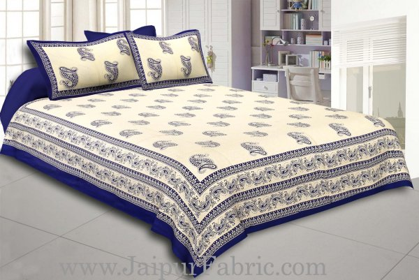 Blue Border Cream Base Blue Paisley Print Cotton Double Bed Sheet