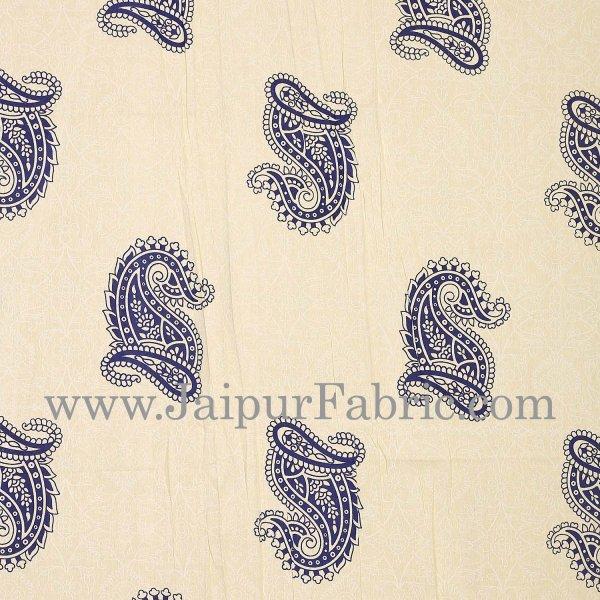 Blue Border Craem Base Blue Paisely Print Cotton Double Bed Sheet