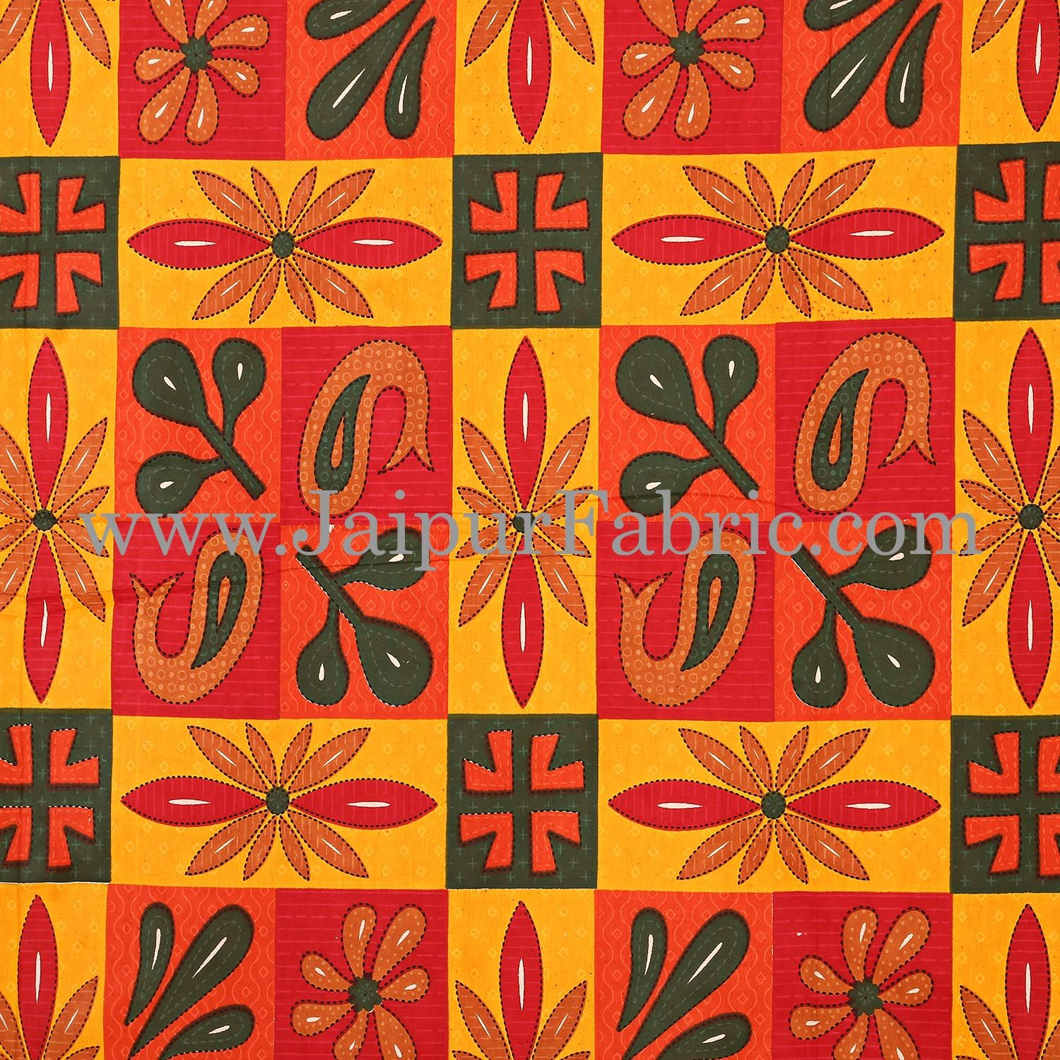 Yellow Border Yellow Base Leaf And Floral Print In Square Pattern  Cotton Double Bed Sheet