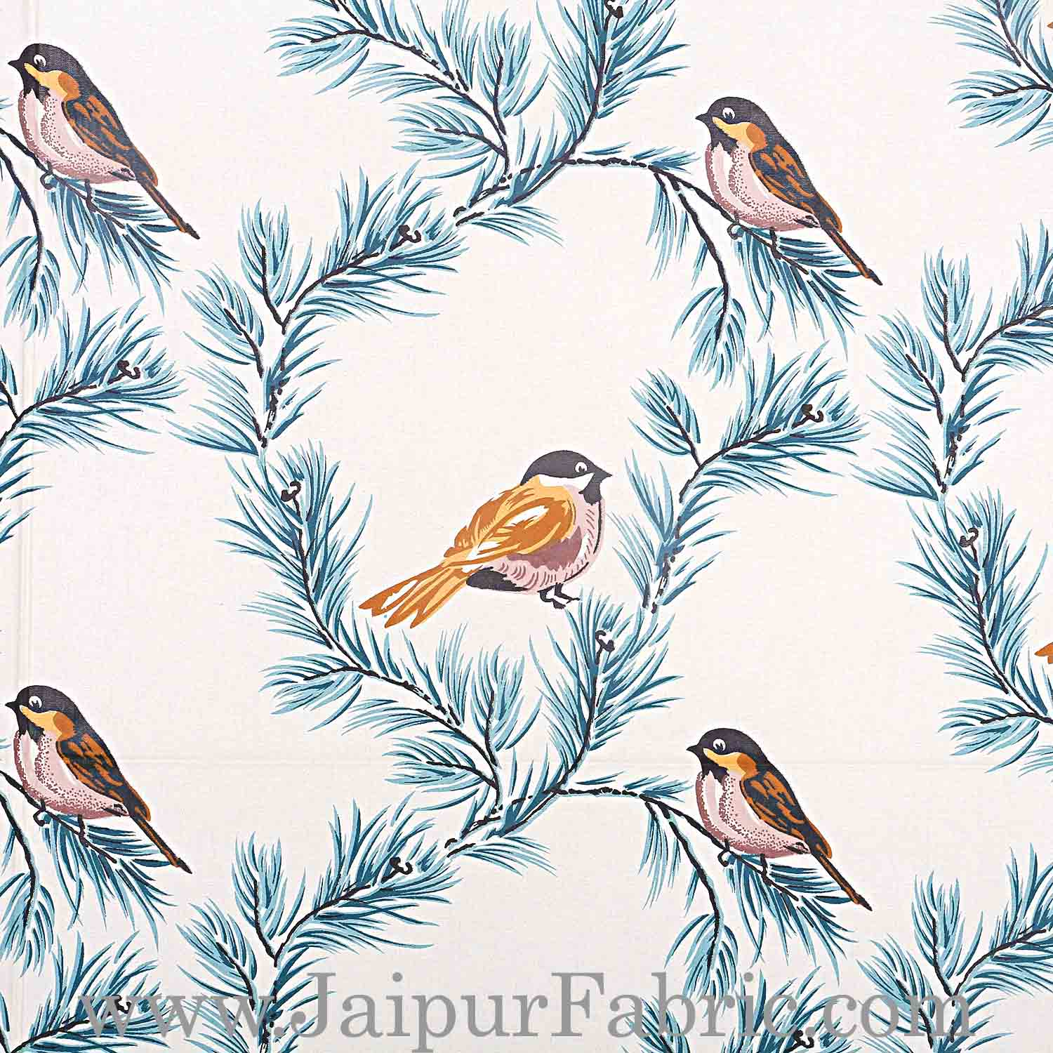 Pure Cotton 240 TC Double bedsheet indian bird print blue