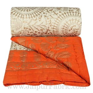 Jaipuri Single Razai with Orange Aadimanav pattern Golden Print