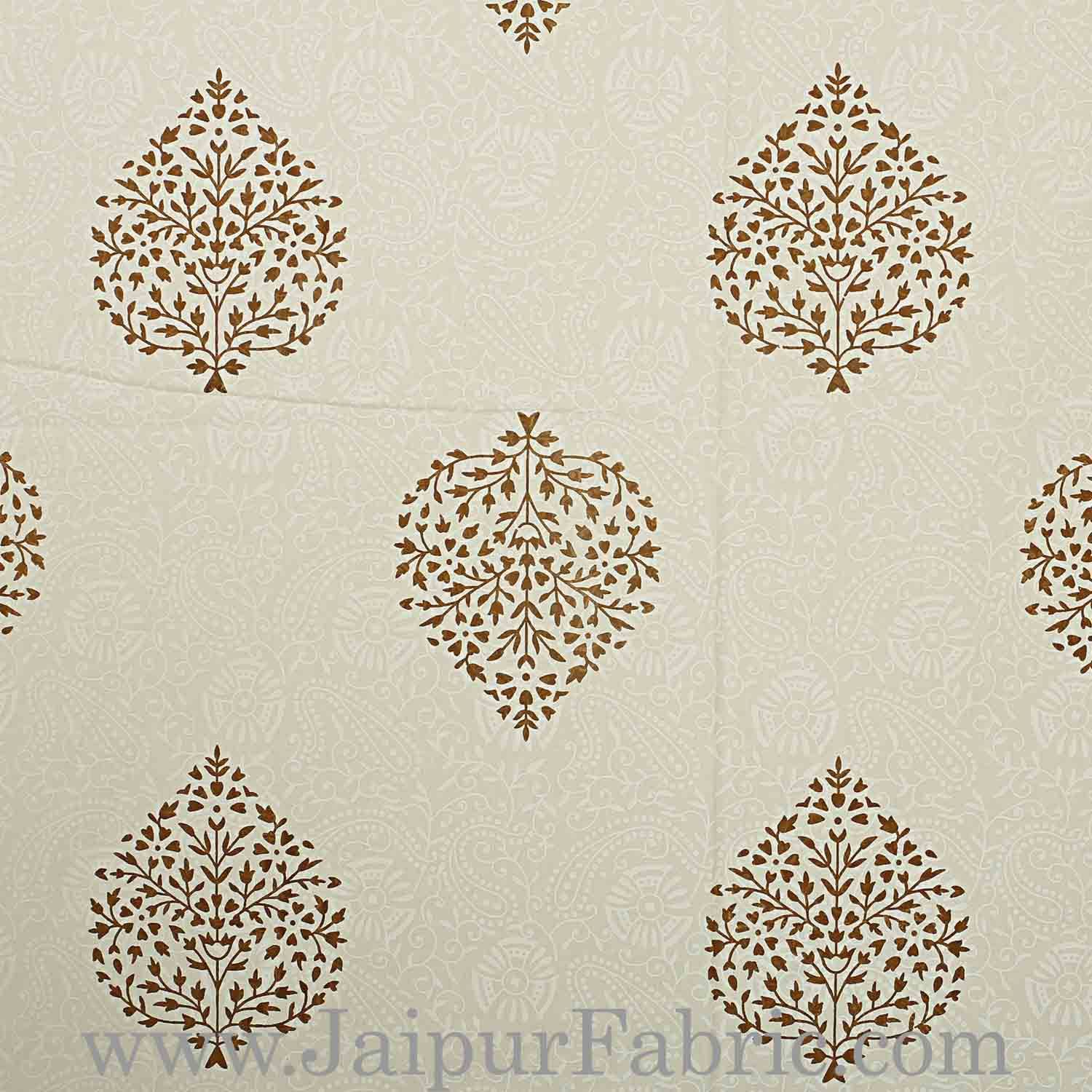 Double bedsheet Small  Brown Tree kadi Print Smooth  Cotton Screen Print