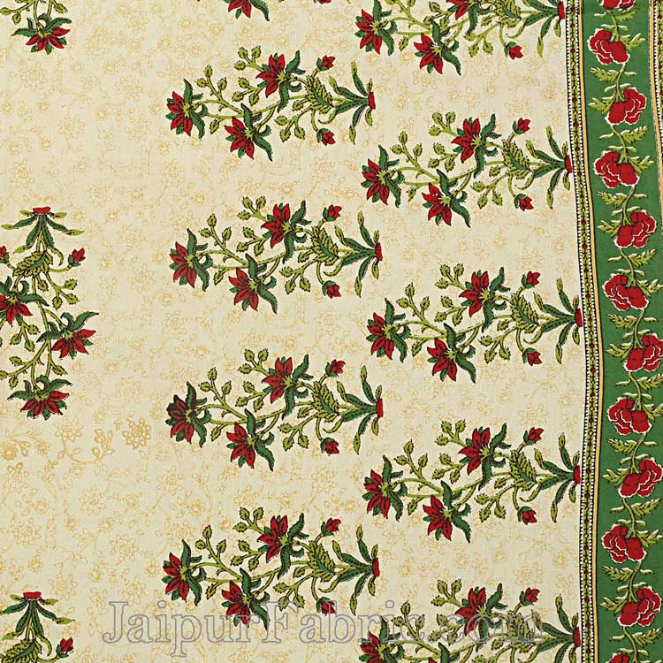 Double Bedsheet Red Border Vintage Floral Print