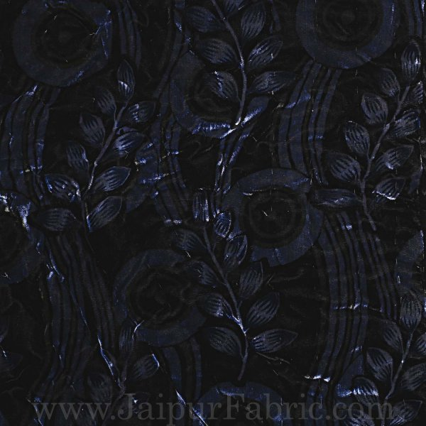Jaipuri Hand Crafted Black Feather  Print Velvet Double Quilt/Rajai